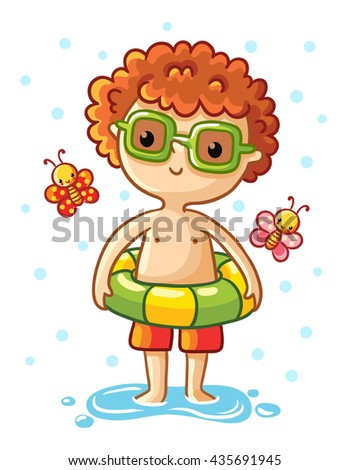 A cute little boy on the sea. Boy standing in a swimsuit with a rubber ring and around fly the multicolored butterflies. Vector illustration of a summer theme. - stock vector