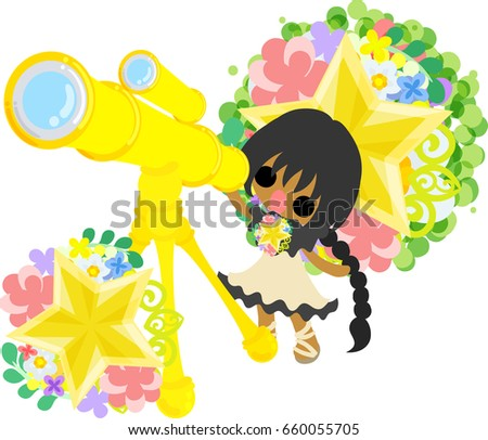A cute little girl and telescope an ornament of stars