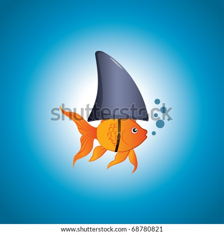 A cute little goldfish wearing a shark fin to scare predators away. Editable vector illustration. - stock vector