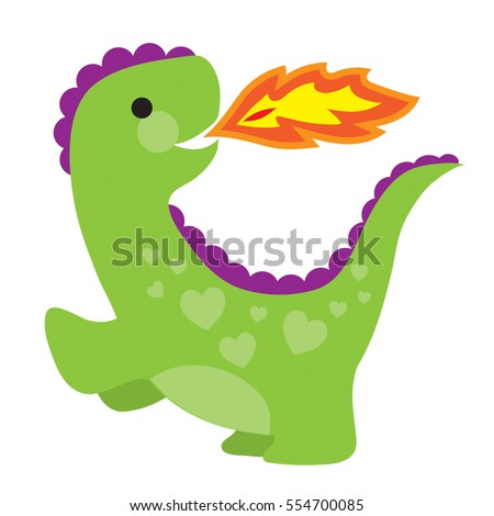 A cute little green dragon with hearts on its back is shooting flames out of his mouth.