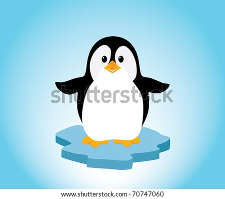 A cute little penguin on a bit of ice, looking happy. Editable vector illustration.