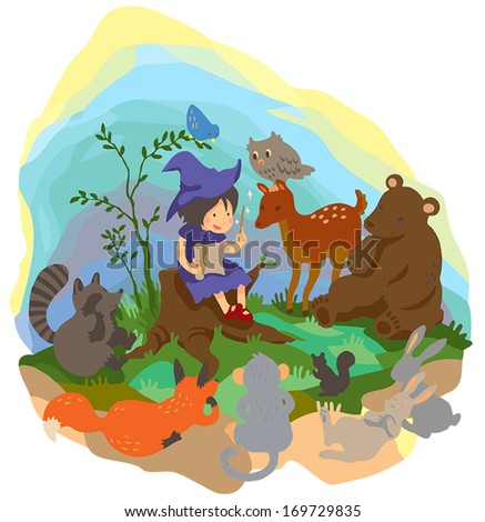 A cute little witch or sorcerer is teaching magic by reading spell book to wild animals friend in the magical wilderness wood in isolated background, create by cartoon vector