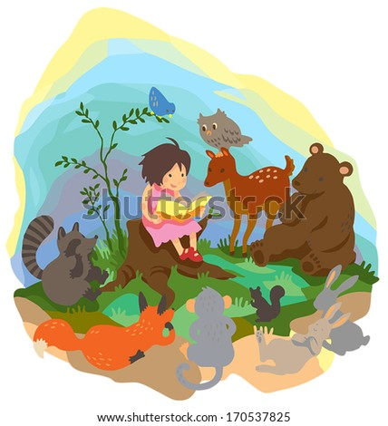 A cute little young girl is teaching magic and reading book to wild animals in the forest wood in isolated background, create by cartoon vector