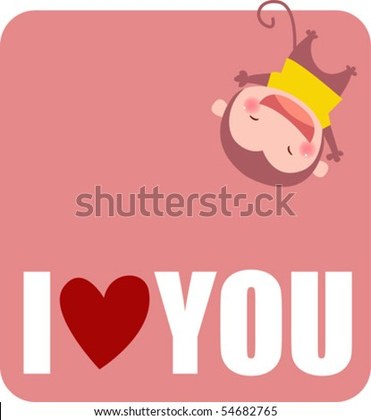 a cute monkey say i love you - stock vector
