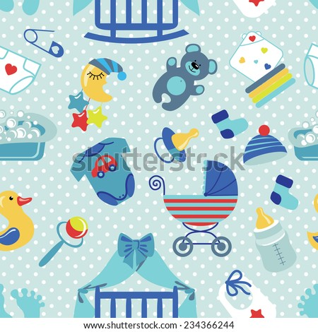 A Cute Newborn Seamless Pattern For Baby Boy.Baby Shower Cartoon Design  Elements,Polka