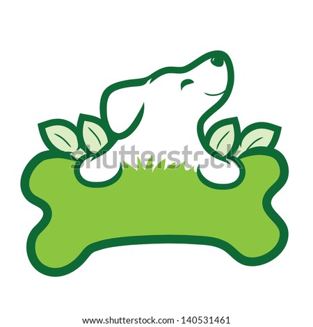 A cute puppy with a big green bone, grass and leaves - stock vector