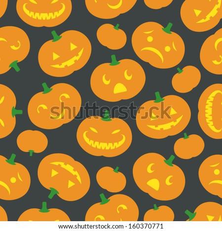 A cute retro Halloween background. Seamlessly repeatable. Eps 8 Vector. - stock vector