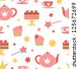 A cute royal tea party seamless pattern - stock vector