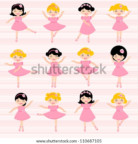 A cute set of beautiful ballerinas - stock vector