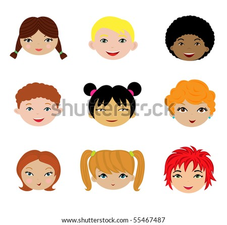 A cute set of different kids faces - stock vector