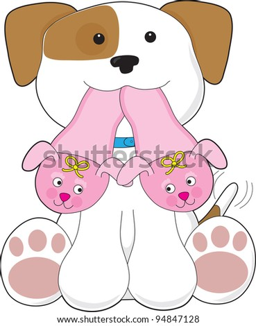 A cute smiling puppy is holding out a pair of pink slippers in its mouth. - stock vector