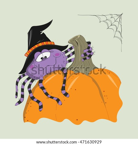 a cute violet spider in a black witch hat is sitting on a pumpkin, halloween illustration, cartoon drawing, vector