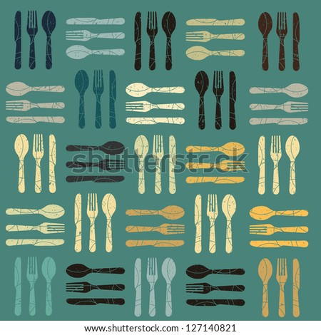 A cutlery pattern background - stock vector