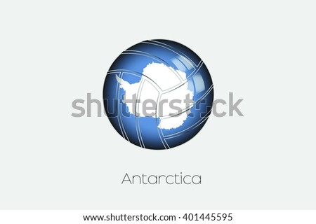 A 3D Football with a Flag Illustration of Antartica