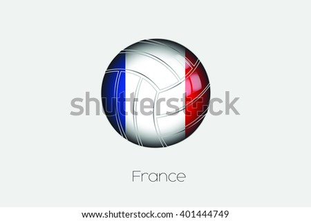 A 3D Football with a Flag Illustration of France