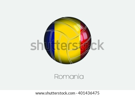 A 3D Football with a Flag Illustration of Romania - stock vector