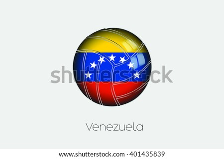 A 3D Football with a Flag Illustration of Venezuela