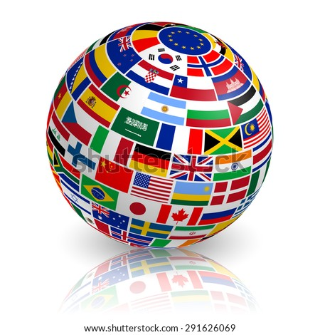 A 3d globe composed of flags with shadows and reflection - stock vector
