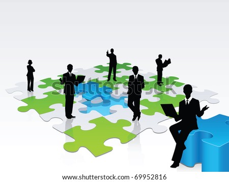 A 3D illustration of a team of professional solving a jigsaw puzzle, a metaphor of a team taking care of businesses problems - stock vector