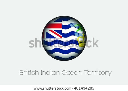 A 3D Orb with a Flag Illustration of British Indian Ocean Territory