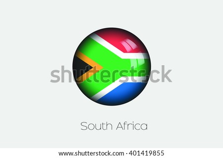 A 3D Orb with a Flag Illustration of South Africa - stock vector