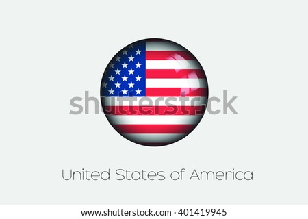 A 3D Orb with a Flag Illustration of United States of America - stock vector
