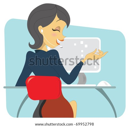 A dark haired professional woman sitting at her desk, on conversation on the wireless phone. She is sitting in front of her workstation, showing a computer setup. - stock vector