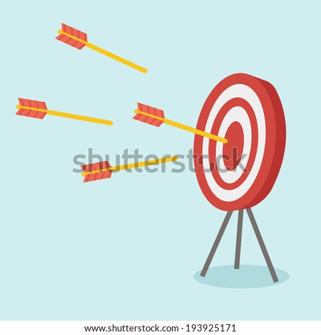 A dart is in the center of a dartboard - stock vector
