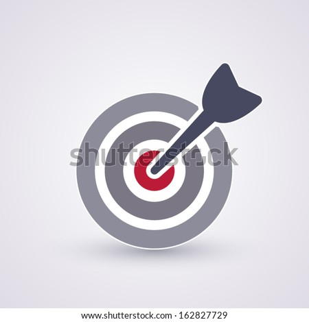 A dart is in the center of a dartboard. Target concept. - stock vector