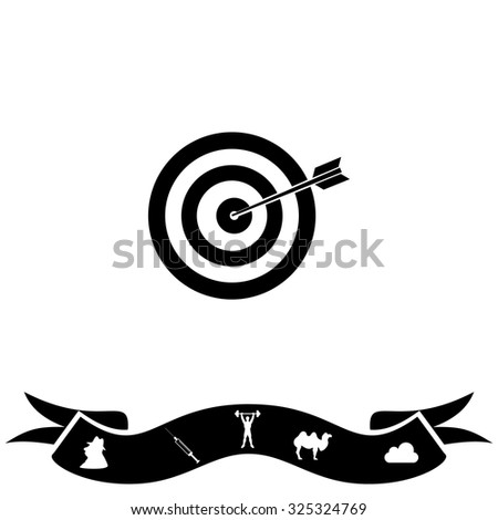 A dart is in the center of a dartboard. Target concept. Black flat icon and bonus pictogram with ribbon. Vector illustration symbol - stock vector