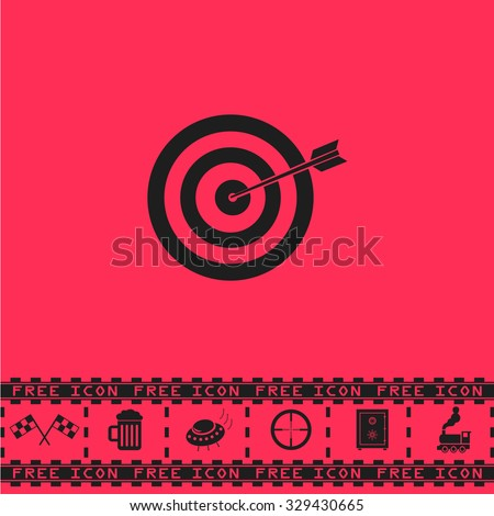 A dart is in the center of a dartboard. Target concept. Black flat vector icon and bonus symbol - Racing flag, Beer mug, Ufo fly, Sniper sight, Safe, Train on pink background - stock vector