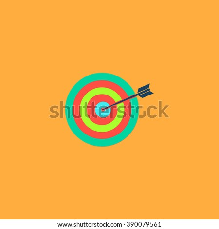 A dart is in the center of a dartboard. Target concept. Flat simple modern illustration pictogram. Collection concept icon for infographic project and logo