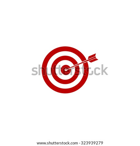 A dart is in the center of a dartboard. Target concept. Red flat icon. Vector illustration symbol - stock vector