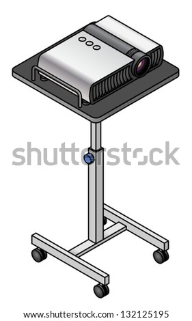 A data projector on a height-adjustable cart. - stock vector
