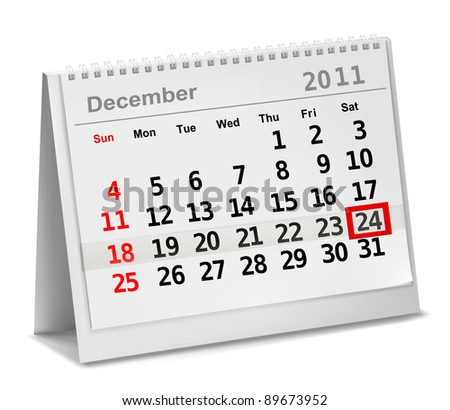 A date circled on a calendar with red ink.  Vector illustration. - stock vector
