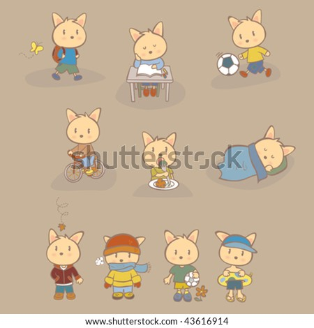 A day in the life of a boy. Vector illustration of a character's daily life and also wearing different clothing for the different seasons. - stock vector