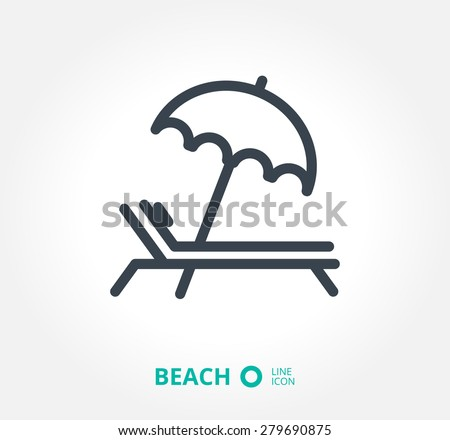 a deckchair with an umbrella vector icon - stock vector