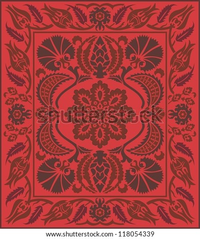 A Decorative Ottoman Floral Carpet Design in monochromatic shades of red and brown - stock vector