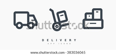 a delivery set of isolated minimal flat linear icons. Line vector icons for websites and mobile minimalistic flat design - stock vector