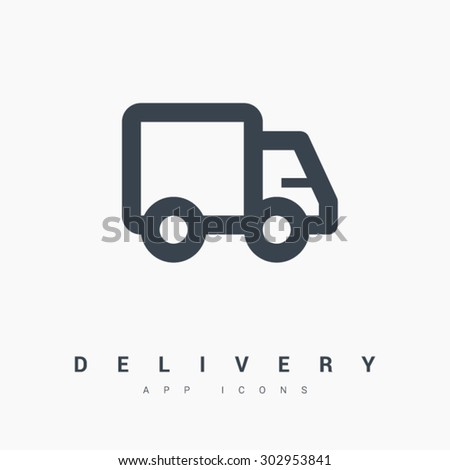 a delivery vector app web line icon - stock vector