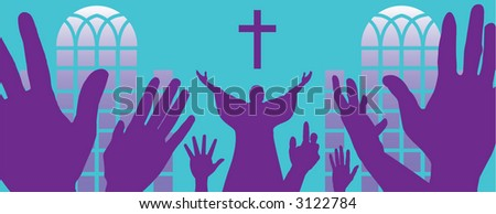 A depiction of religious fervor with a pastor and congregation - stock vector