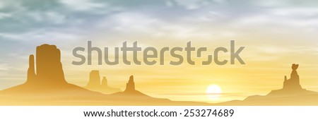 A Desert Landscape with Mountains and Sunset, Sunrise. Vector EPS 10. - stock vector