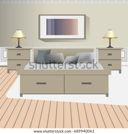 A design of modern workplace, bedroom with other objects. Vector  illustration in flat minimalistic