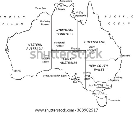 a detailed black outline map of australia on a white background includes states major