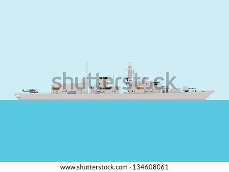 A Detailed Illustration of a Modern Warship at sea - stock vector