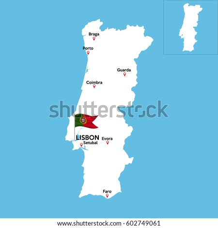 Picture Of A Portugal Flag Stock Images RoyaltyFree Images - Portugal map major cities