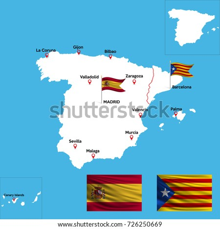 World Map Catalonia. A detailed map of Spain with indexes major cities the country  National flag Catalonia Map Stock Images Royalty Free Vectors