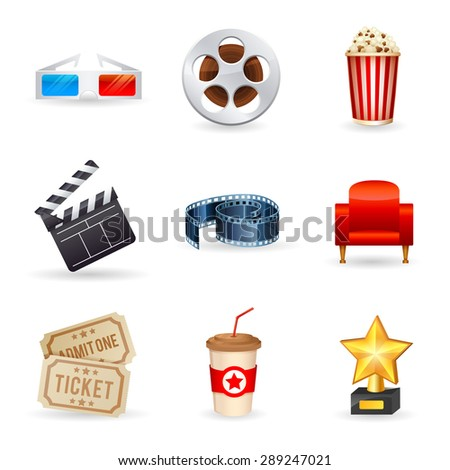 A detailed set of realistic cinema icons for web and design with movie symbols, 3D glasses, film reel, popcorn, tickets - stock vector