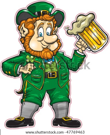 A detailed yet highly customizable vector illustration of a friendly leprechaun - perfect for your St. Patrick's Day designs. All elements are organized and clearly labeled for easy editing. - stock vector
