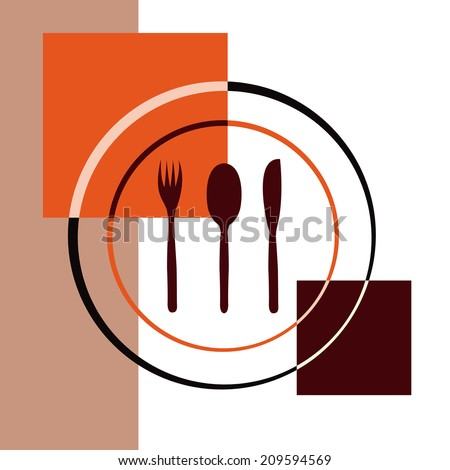 a dish with three silver wares on a colored background - stock vector